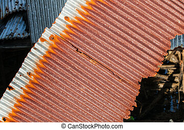Rusty old corrugated iron or galvanized iron background