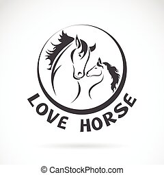 Vector image of a horse head design on white background,...
