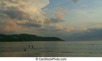Evening beach in Phuket - Seascape high cumulus clouds...