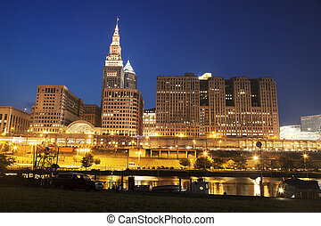 Architecture along Cuyahoga River in Cleveland during...