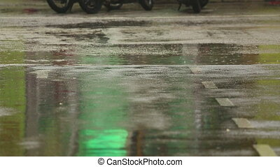 Tropical rain - Close-up of people footsteps. Puddles after...