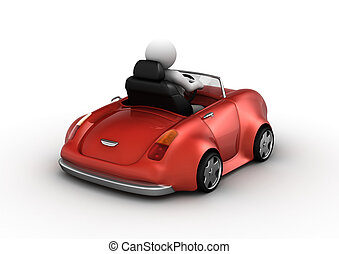 Red cabrio driven by 3d character