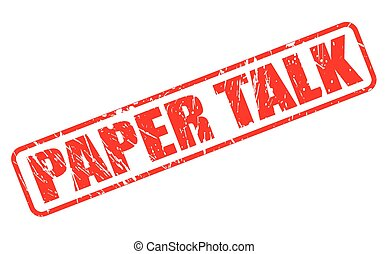 PAPER TALK red stamp text on white