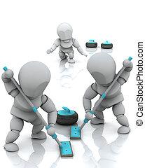 curling - 3D render of a curling team