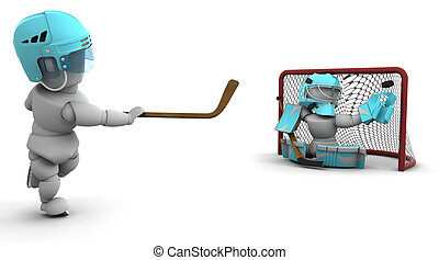 ice hockey - 3D render of ice hockey playerS