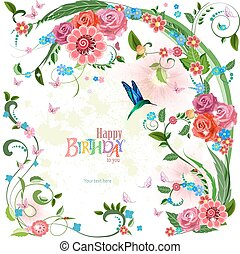 lovely invitation card with roses and bird. Happy birthday