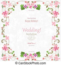 wedding card with flowers for your design. romantic frame