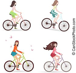 Beautiful girls are riding on bicycles