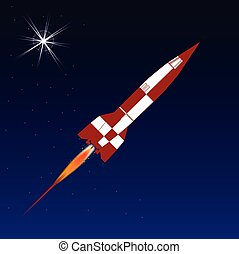 Space Rocket - Space rocket over a star clustered background