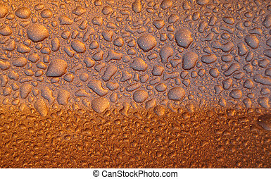 Water on Gold - Water droplets on gold sparkle textured...