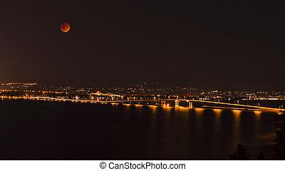Okanagan Lake Bridge Kelowna BC Canada at Night - A view of...