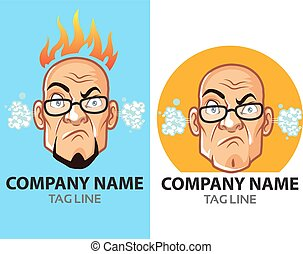 Mad Bald Guy Logo - Vector Design of Angry Bald Man for Logo...