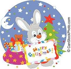 Bunny with Christmas card
