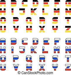 tricolor flag font alphabet - vector tricolor flag font...