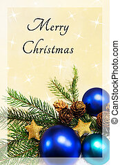merry christmas card with blue balls and text