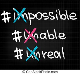 impossible unable unreal - Sketched words of write approach...