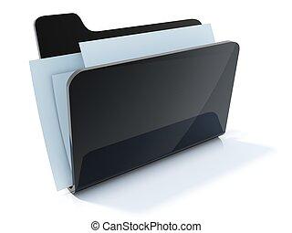 Full black folder icon isolated on white