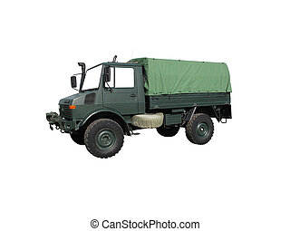 Military truck isolated on white with path...