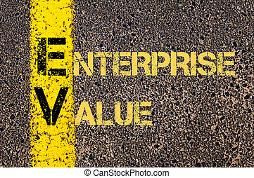 Business Acronym EV as ENTERPRISE VALUE - Concept image of...