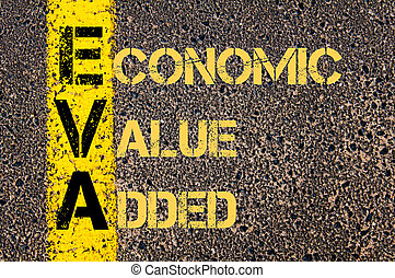 Business Acronym EVA as ECONOMIC VALUE ADDED - Concept image...