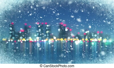 snowfall and blurred city on back