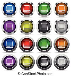 Storage button set - Set of storage glossy web buttons...