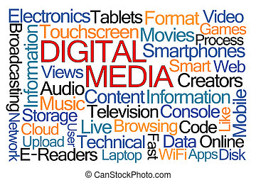 Digital Media Word Cloud on White Background
