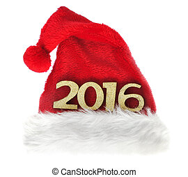 2016 new year - 2016 golden figures on santa klaus hat