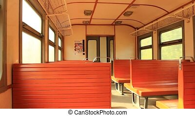 inside of carriage of electric trai - image of inside of...