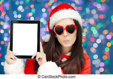 Funny Christmas Girl with Tablet
