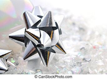 silver node - close on silver nodes bright paper on confetti...