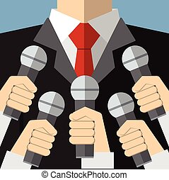 Press conference with microphones - Press conference with...