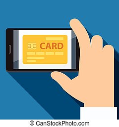 Mobile payments credit card Flat design