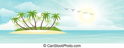 Summer tropical island with palms, sand, sky and sun