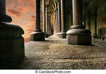 Columns in sunset - Columns at Mont St Mitchel in sunset,...