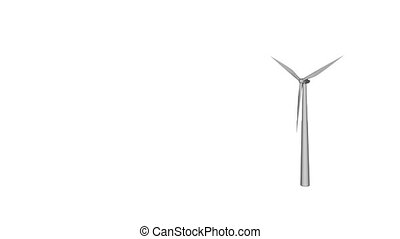 wind power - wind turbine on white background - 3d animation