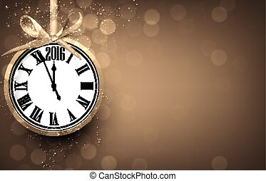 2016 New year golden background with vintage clock. Vector...