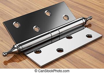 door hinge - hinge holes on a wooden surface