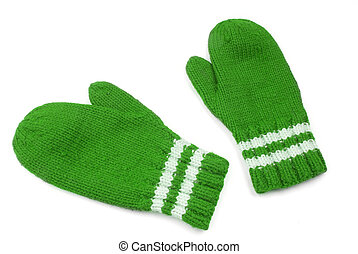 Green mittens with white stripe on wrist over white