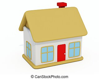Little home toy with red door isolated on white