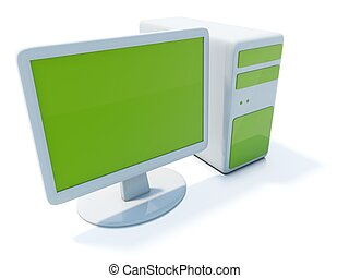 Green computer icon isolated on white