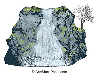 waterfall on white - waterfall isolated on a white...
