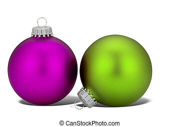 Purple and Green Christmas balls with shadow isolated over...