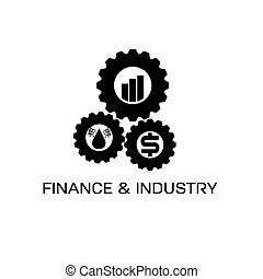 icons of finance and industry in gears