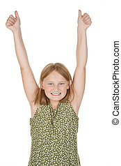 young girl happy arms raised - this girl is a winner with...