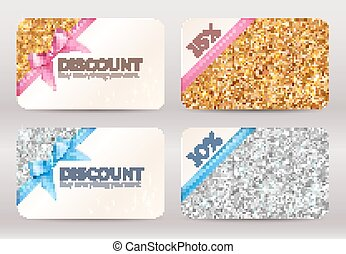 Set of golden and silver glitter discount cards templates -...