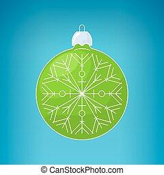 Christmas Green Ball with Snowflake
