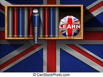 Learn English - Bookcase with English Books