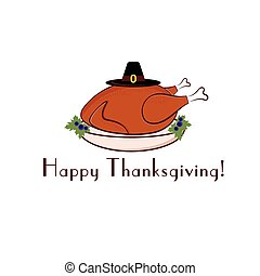 happy thanksgiving illustration with turkey and pilgrim hat