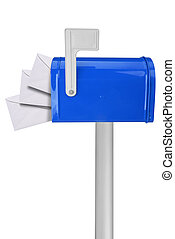 Mailbox with flag and envelopes - A standard red mailbox...